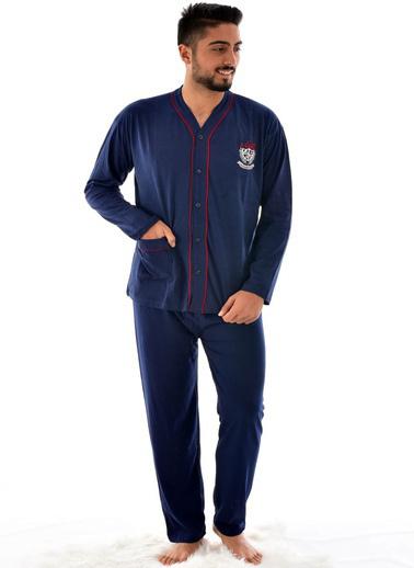 Pemilo Erkek 960 Uzun Kol Boy Düğmeli Süprem Pijama Takımı MAVİ Lacivert